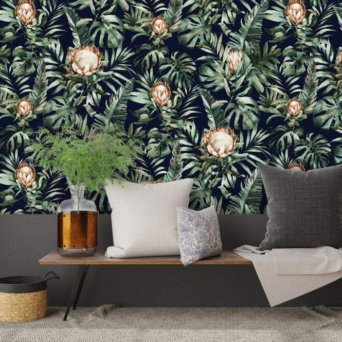 Creation Floral Wallpaper Navy Floral Wallpaper Lounge Colour Schemes Wallpaper
