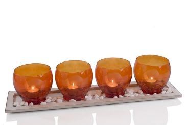 Glass Orange Tealight candle cups with tray