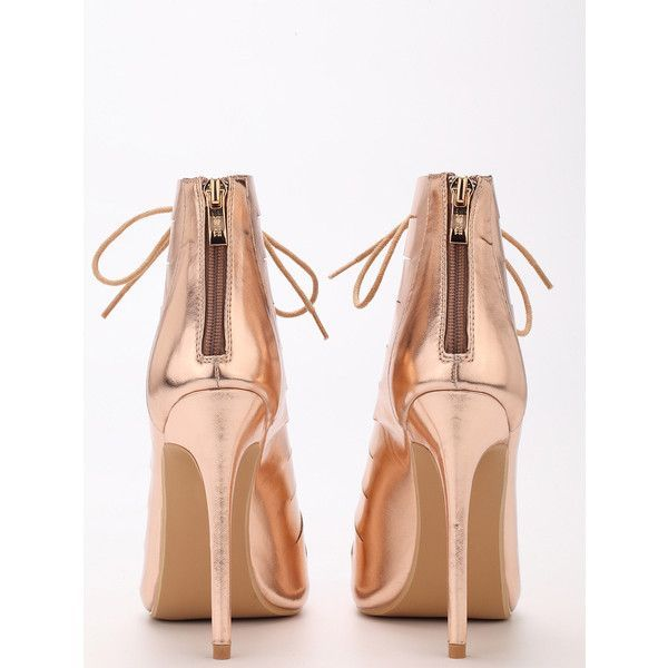 8992ceb8cf72 Rose Gold Peep Toe Zipper Lace Up Stiletto Heels ( 12) ❤ liked on Polyvore