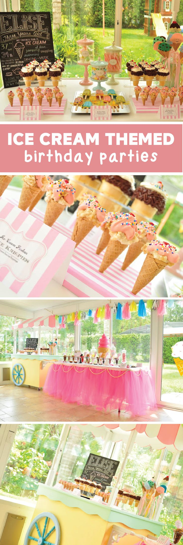 When you think of adorable party decor, this Ice Cream Themed Birthday Party has everything your little girl could dream of—from an ice cream bar outfitted with her favorite Edy's Slow Churned light ice cream flavors to ice cream balloon decorations.