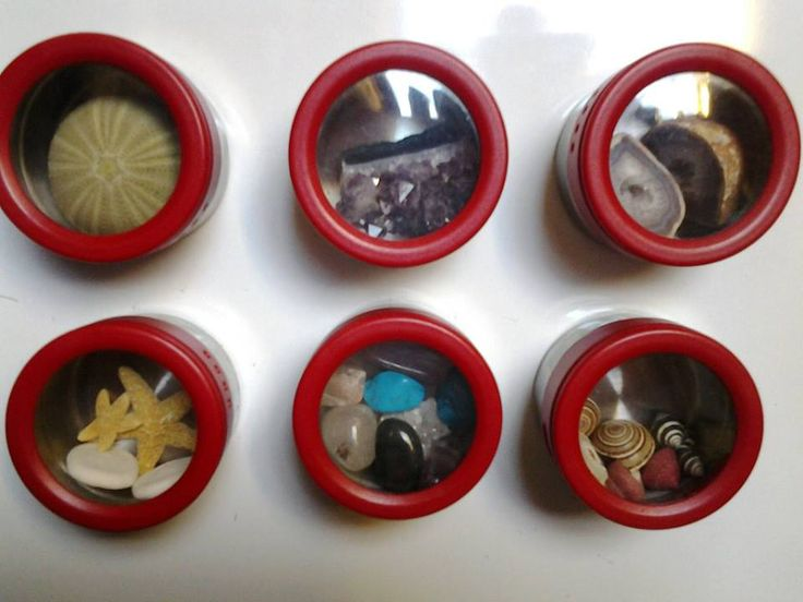Use magnetic spice containers to display natural items for a toddler to explore #reggio #montessori | Racheous