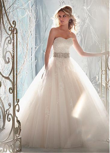 Charming Tulle & Satin A-line Sweetheart Raised Waistline Wedding Dress
