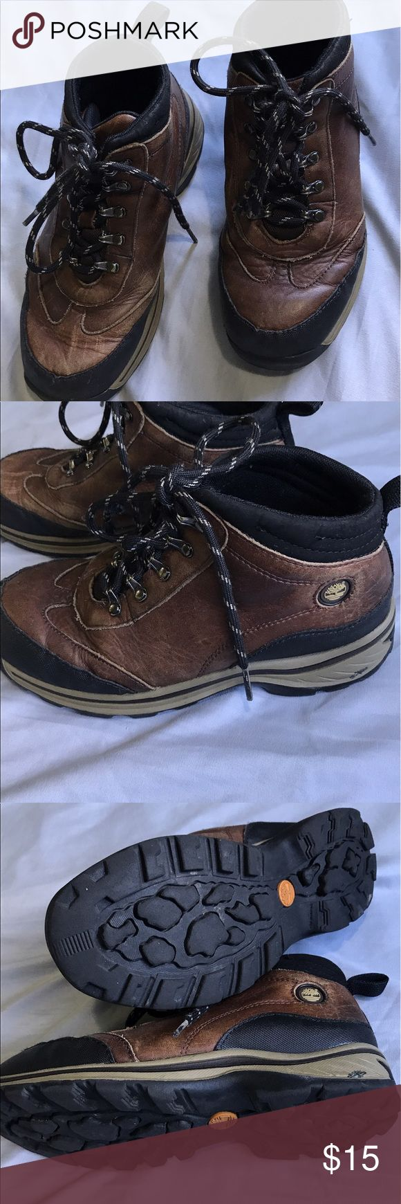 Boy's Timberland boots, size 3 Great Deal! Boy's Timberland boots, size 3. Good condition with minor flaws, one end of shoelace is damaged but can be easily replaced.  Offers discount for bundle. Timberland Shoes