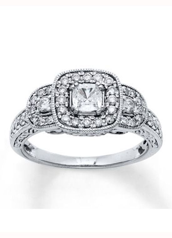 kay jewelers princess cut three stone engagement ring - Wedding Rings At Kay Jewelers