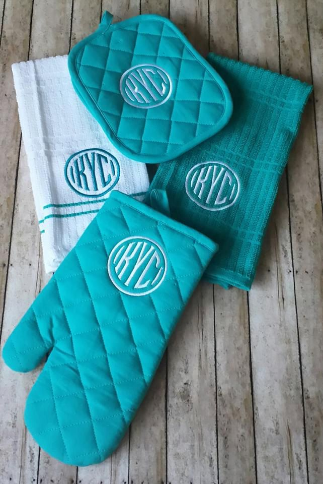 3 Letter Monogrammed kitchen towel set, Personalized Kitchen towel set, Monogram Oven Mitt,Monogram hot pad by StitchnCafe on Etsy