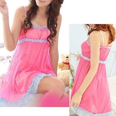 Sexy Lingerie Lace Sweete Princess Clothes Sleeveless Nightgown Short Mini Dress Pink blue