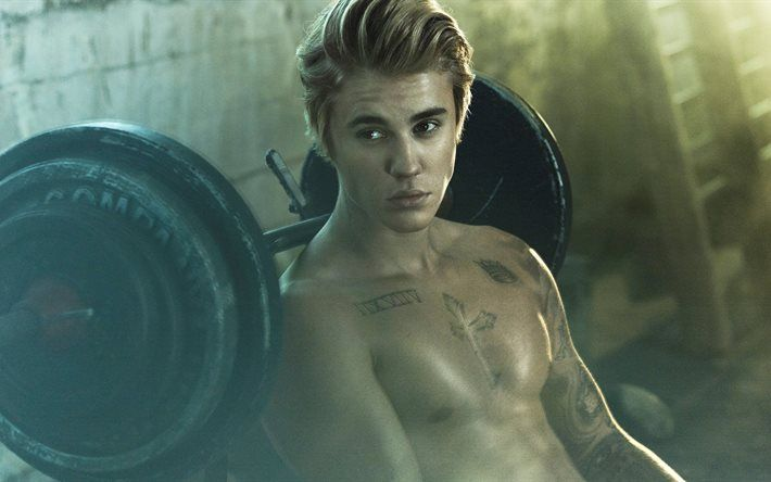 Justin Bieber, 4k, superstars, workout, american singer, guys