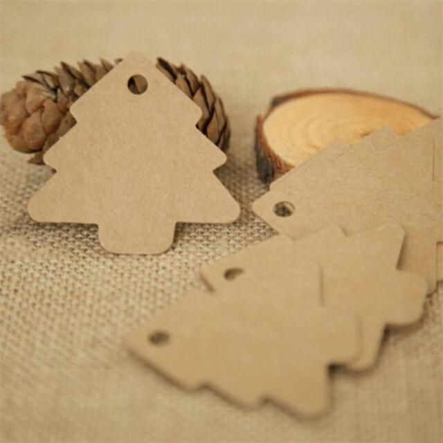 50PCS Vintage Gift Cards Christmas Decorations Kraft Paper Hanging Tags