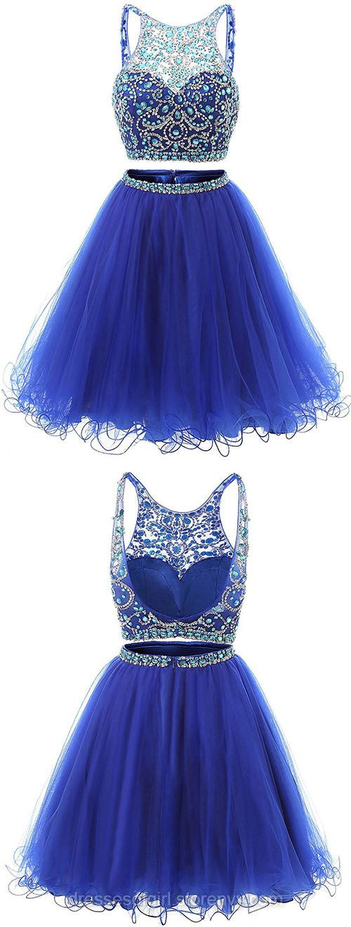 Blue Homecoming Dresses,Jewel Neck Illusion Sequins Crystal Prom Dress, Shining Two Piece Low Back Short Prom Dress, Royal Blue Mini Tulle Prom Dress