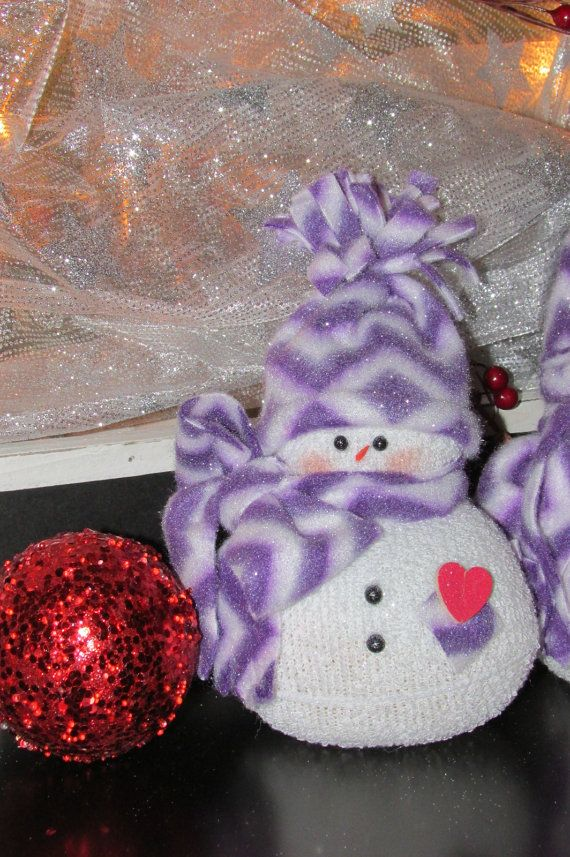 Single sock snowman in purple chevron by MooreDesignsbyJulie