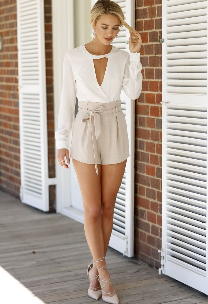 thumbnail - Beige and White Long Sleeve Two Piece Romper