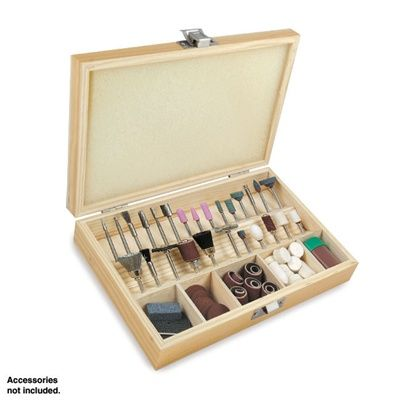 Wood Storage Case for Rotary Tool Bits and Accessories Smooth-finished wood storage case includes 27 plastic sleeve-lined holes which hold 1/8 inch shank rotary tool bits and accessories, plus 5 compartments for holding cutting disks, sanding bands, buffing wheels and more. Hinged lid is foam-lined to keep accessories in place, and a metal latch keeps the box closed securely when not in use. Box measures 8-1/2 inches x 5-5/8 inches x 1-5/8 inches deep.
