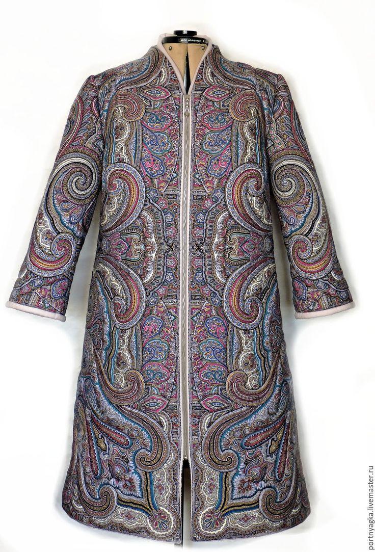 Купить Пальто Драгоценная весна(из ППП) - голубой, павловопосадский платок, одежда из платков, пальто демисезонное