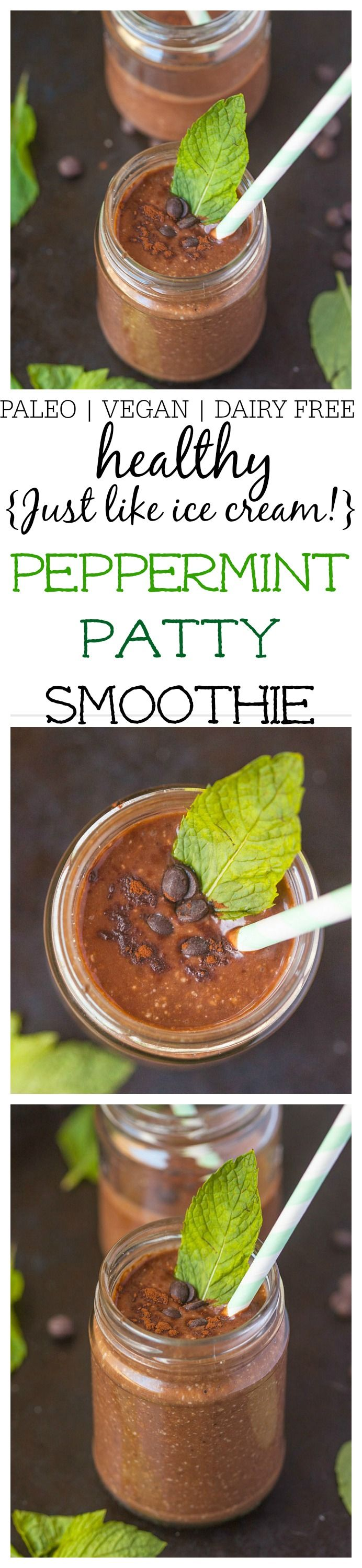 Healthy {just like ICE CREAM!} Peppermint Patty Smoothie- A quick and easy smoothie recipe which tastes like a peppermint patty but filled with superfood! Naturally vegan, dairy free, gluten free, sugar free and paleo- Creamy, thick and just like ice cream! @thebigmansworld - thebigmansworld.com
