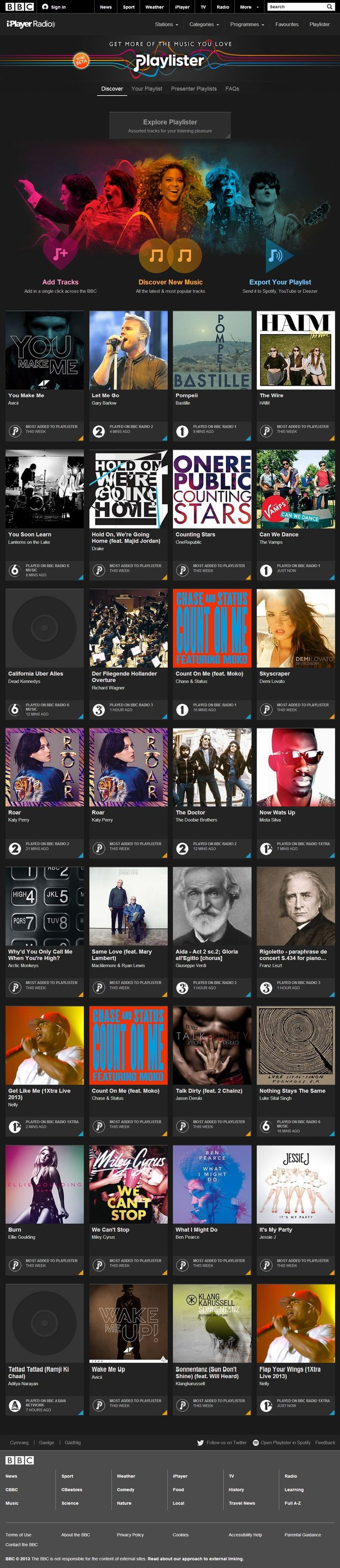 BBC Playlister just released a cards based UI for music playlists.