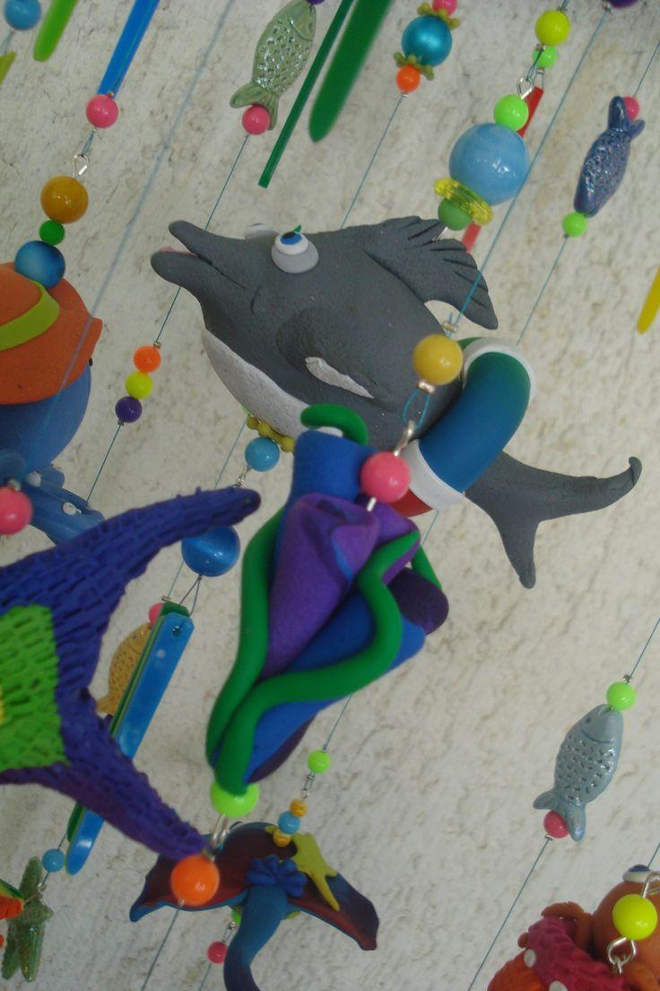 https://flic.kr/p/J9fSVG | Living in the sea - Mobile, handmade, polymer clay