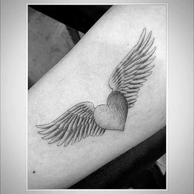 Heart wings classic... #singleneedle #losangeles #mother #me #wings #heart #fineline #sketch #detail #love #life