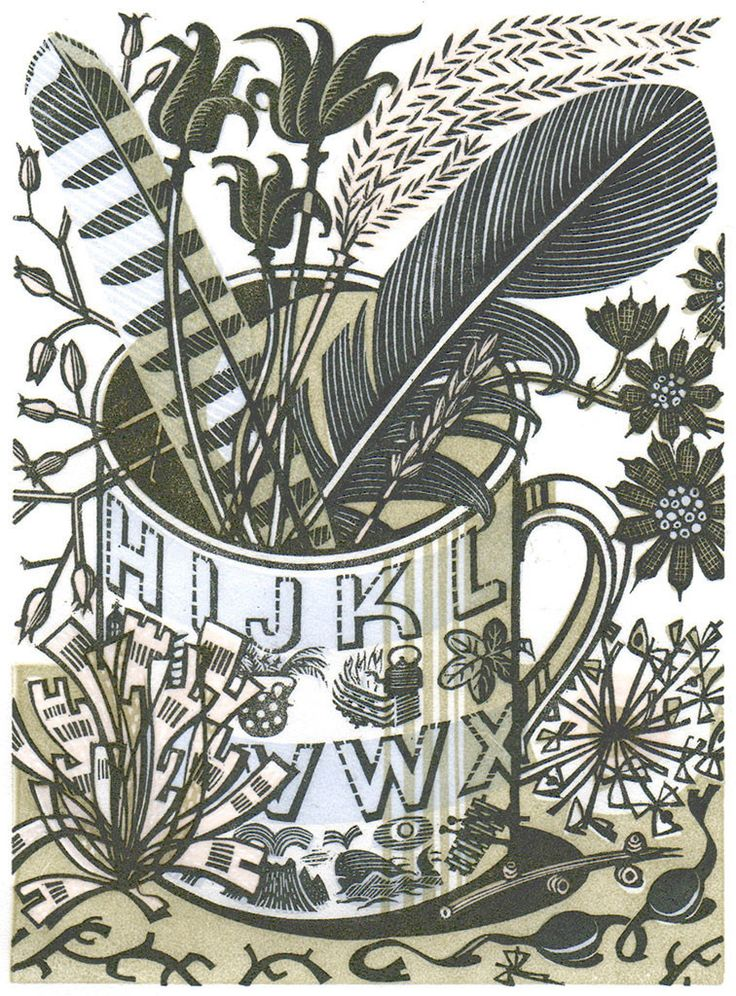 """Angie Lewin's """"Alphabet & Feathers"""" wood engraving for the V&A http://www.angielewin.co.uk/collections/sold-out-editions/products/alphabet-and-feathers"""