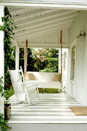 Intrigued by the idea of painting a wood porch floor, especially with stripes