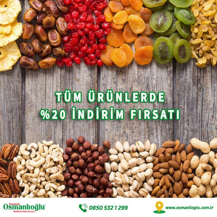 Eminönü Osmanlıoğlu'nun o en sevdiğiniz eşsiz tatları size bir tık kadar yakın! Tüm ürünlerde %20 indirim fırsatı sizleri bekliyor. #eticaret #ecommerce #nuts
