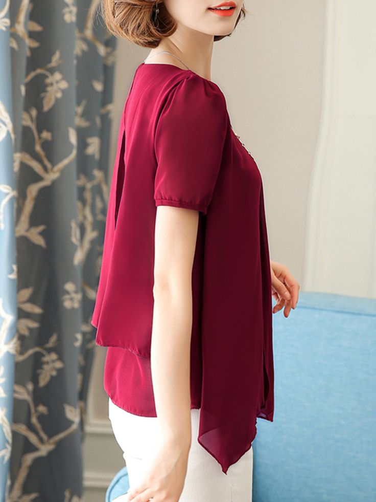 Buy V-Neck Asymmetric Hem Plain Chiffon Blouse online with cheap prices and discover fashion Blouses at Fashionmia.com.