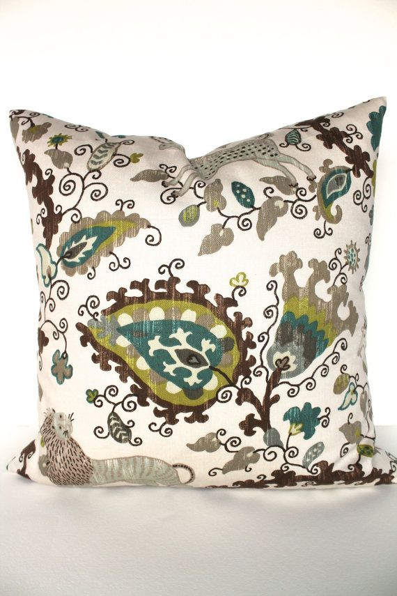 Pillow teal decorative throw pillows gray pillows 14x14 for Brown and gray throw pillows