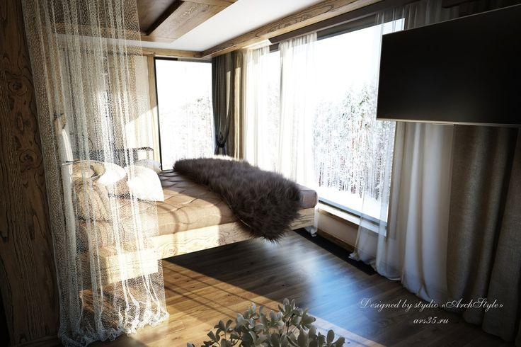 в стиле современного шале, дизайн спальни,  bedroom