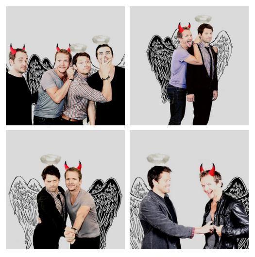 LMAO ^_^ || credits unknown #Manip #Supernatural Cast || Misha Collins || Mark Sheppard || Matt Cohen || Sebastian Roché #Supernatural funny