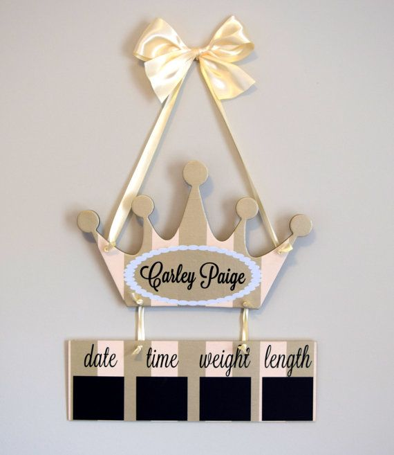 Princess Hospital Door Hanger Welcome Baby Girl by OliveYewToo