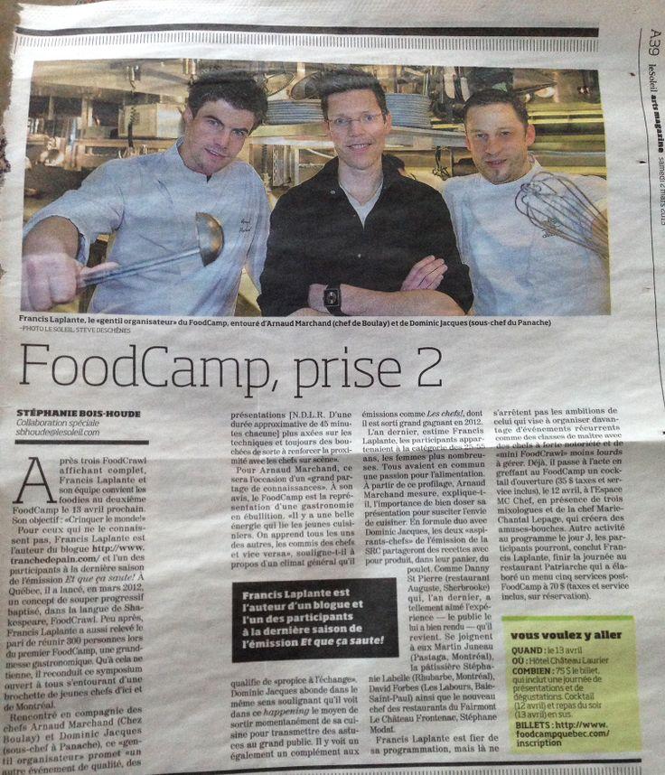 Pleine page dans le journal Le Soleil pour le second événement du FoodCamp de Québec