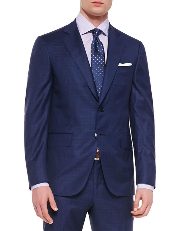 Box Check Two-Piece Suit, Blue, Men's, Size: 42/43L - Isaia