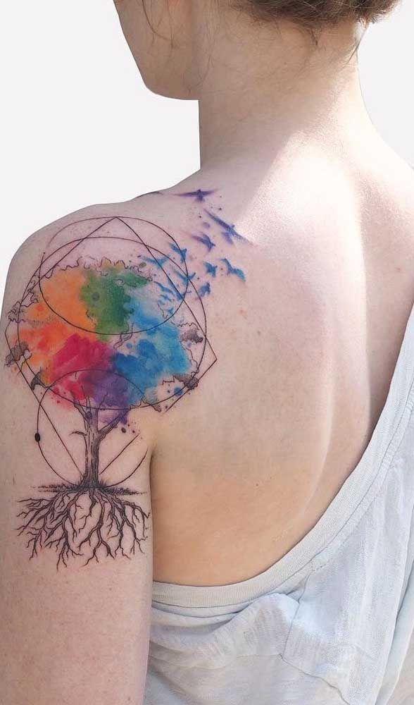 Pin em tatuagem colorida