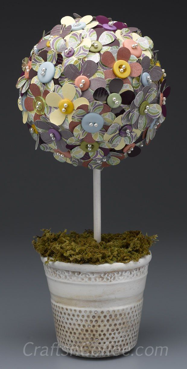Pretty topiary! DIY with paper scraps, paint chips & a Styrofoam ball. CraftsnCoffee.com