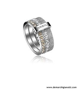 Breil gioielli Anello Breilogy in acciaio con cristalli swarovski bianchi e champagne e finitura diamantata grigia modello TJ1331 www.demarchigianotti.com