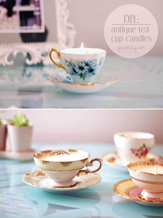 DIY teacup candles tutorial. This easy tutorial shows you how to make your own decorative candles in just a few easy steps. Perfect for gifts, wedding decor or favors, and more.. #diy #diyhome #diydecor #wedding