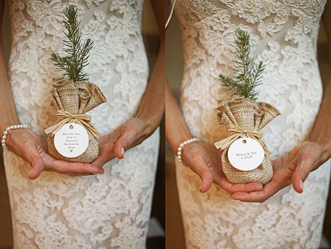 wedding favors? have all the guests plant a tree the day of the wedding, how cute!