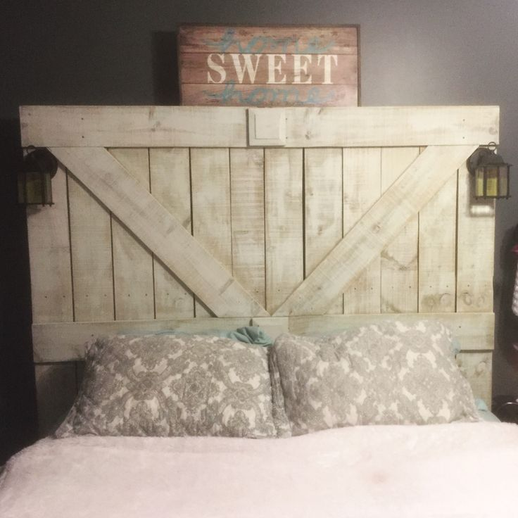 DIY barndoor headboard from Home Depot fence