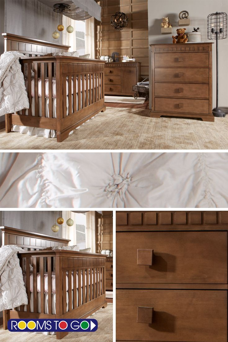 Welcome your new little one with the Vincente nursery. Featuring an elegant style with a timeless look, this set includes a dresser and crib. All pieces are constructed of quality poplar solids and poplar veneers in a striking brown finish, with oversized knobs on the dresser for ease of use.