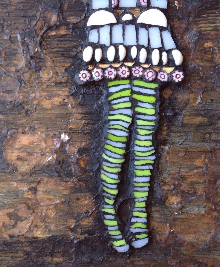 """Everyone's waiting.' mosaic on reclaimed marine ply. 2014 Artist: Emily J Hogan"