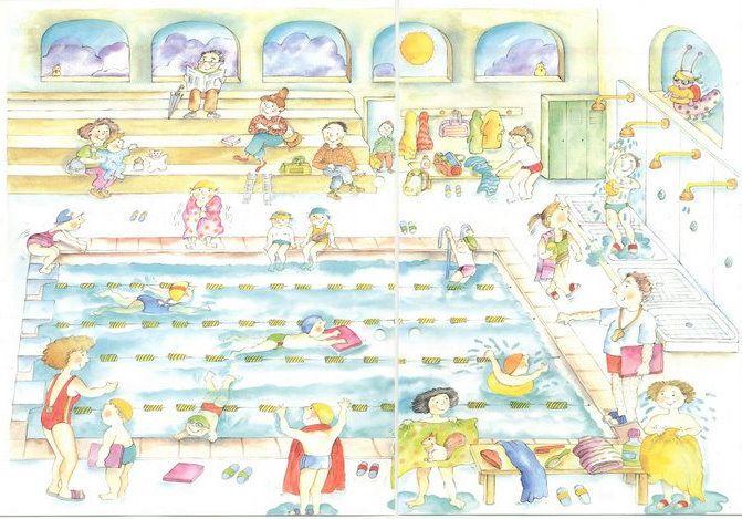 Praatplaat zwemmen voor kleuters / Piscina