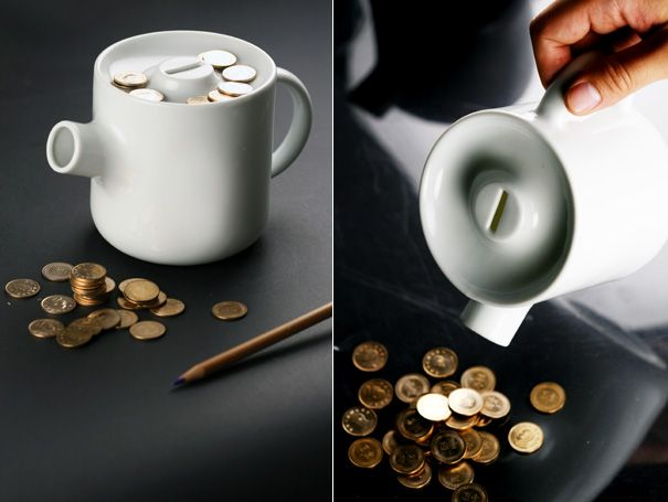 With this teapot coin bank, just stick your coins inside and pour them out when you need extra change.
