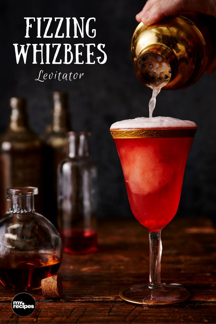 Fizzing Whizbees Levitator | MyRecipes  Bring out your inner wizard with this delicious, bubbly cocktail made from Pop Rocks and Zotz candy, the closest things we muggles have to Fizzing Whizbees from the wizarding world.