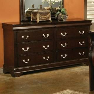 Check out the Coaster Furniture 203983N Louis Philippe Style 6 Drawers Dresser in Cherry #coasterfurniturebedroom #coasterfurnituredressers