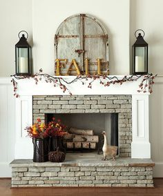 Fall Autumn Halloween Home Decor Fireplace Mantle Ideas by I Heart Shabby Chic 2016 | I Heart Shabby Chic