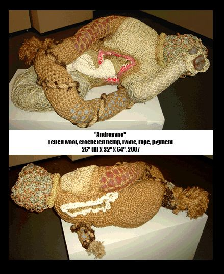 """Androgyne Felted wool, crocheted hemp, twine, rope, pigment 26"""" (H) x 32"""" x 64"""", 2007"""