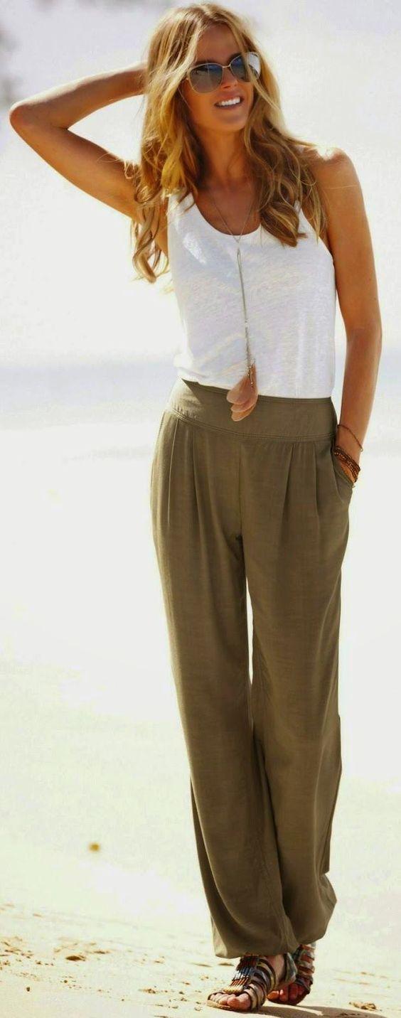 summer fashion olive green palazzo pants