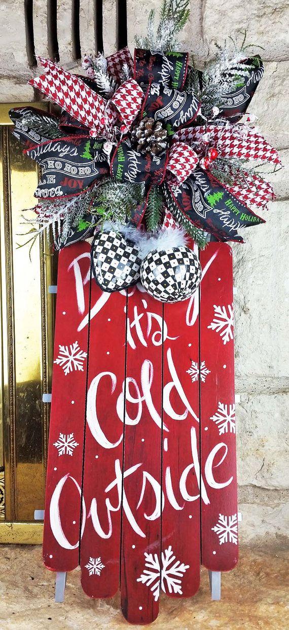 Christmas Chalkboard Sled  Chalkboard Bow by PleasantExpressions