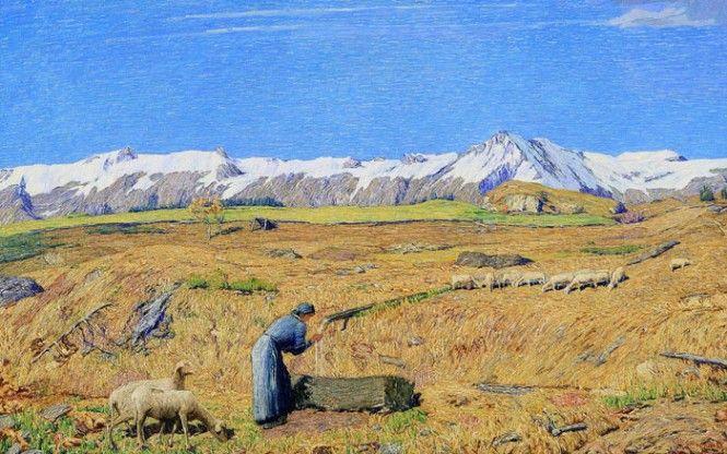 """Carlo Fornara - Ultimi pascoli"""", 1905, olio su tela, collezione privata"""
