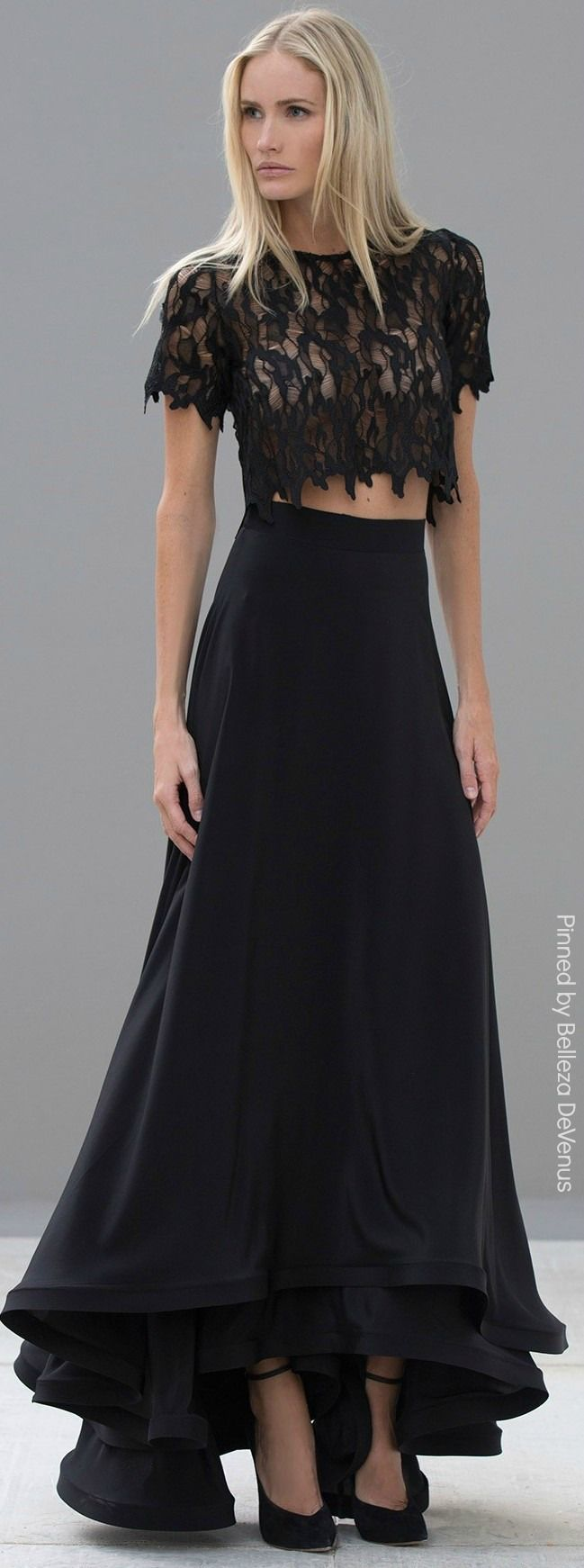 black lace top and black maxi skirt the maxi skirt
