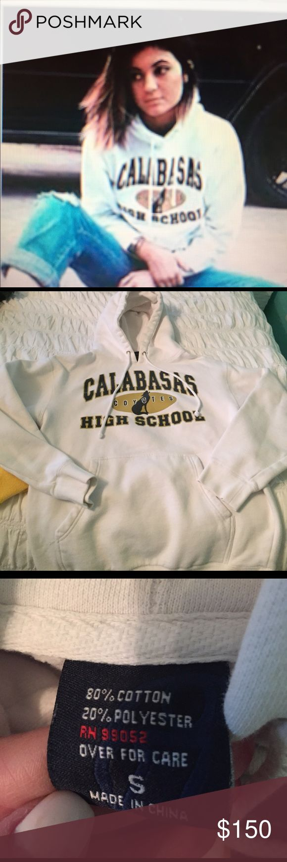 Kylie K wearing a Calabasas high hoodie! Yes this Is obviously a very old picture of Kylie K wearing a Calabasas High School hoodie! Size adult small or unisex size small hoodie from the Calabasas high soccer team. Just thought I would put it out there to see if it worth anything to anyone! My daughters wore this in high school. Sweaters